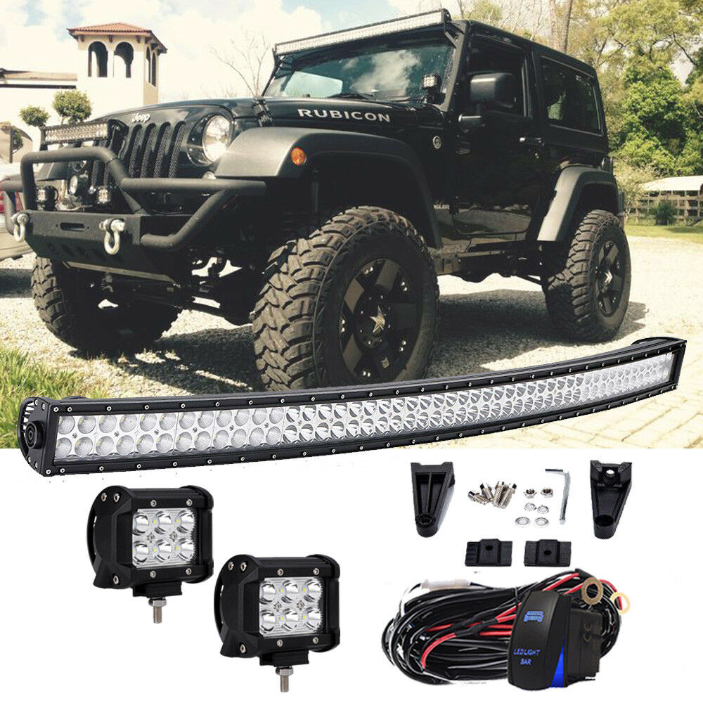 50 Led Light Bar Wiring Harness Kit Windshield Roof Lights For 07 15 Jeep 1 Of 8only Available