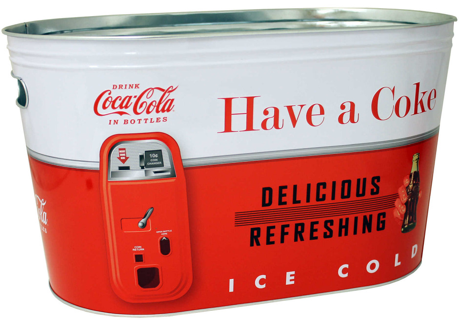 Coca Cola Large Ice Bucket Party Tub Cooler Beverage Beer Drinks Metal Steel