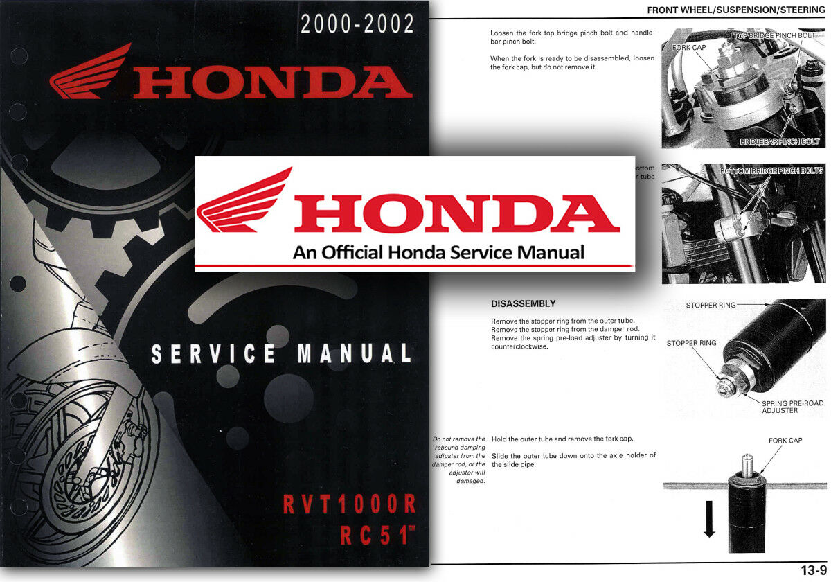Honda VTR1000 SP1 RVT1000R RC51 Service Workshop Repair Shop Manual VTR RVT  RC51 1 of 2Only 5 available ...
