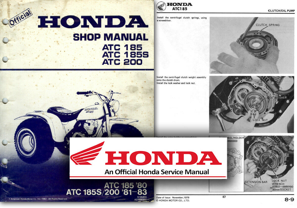 Honda ATC185 ATC200 Service Workshop Repair Shop Manual ATC 185 185S 200  TRIKE 1 of 2FREE Shipping ...