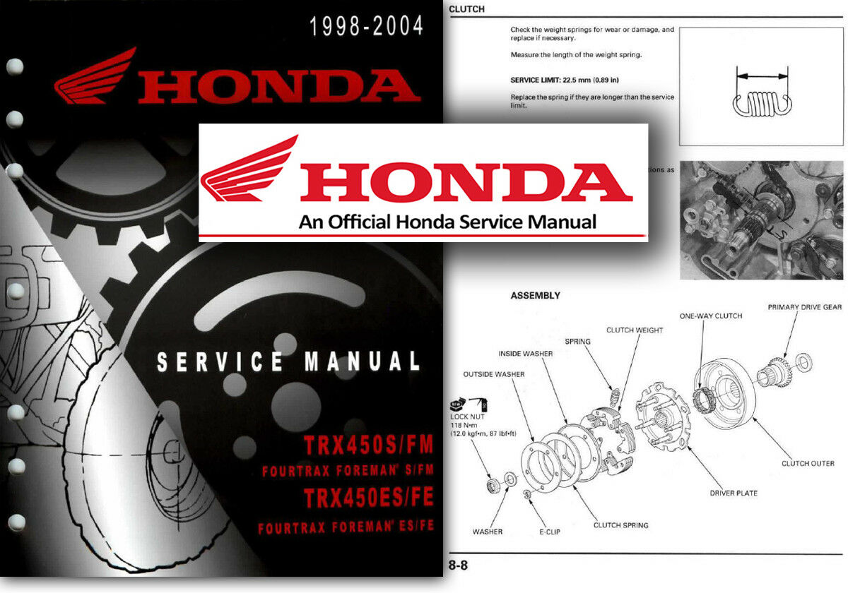 Honda TRX450 Fourtrax Foreman Service Workshop Repair Manual S ES FM FE 98  to 04 1 of 2FREE Shipping ...