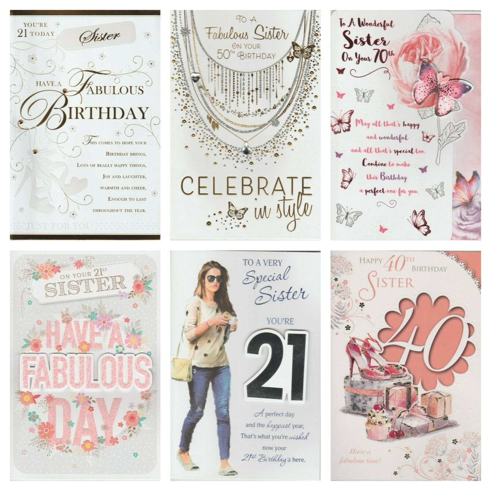 Sister 60th 70th Birthday Card Happy 1 Of 1FREE Shipping See More