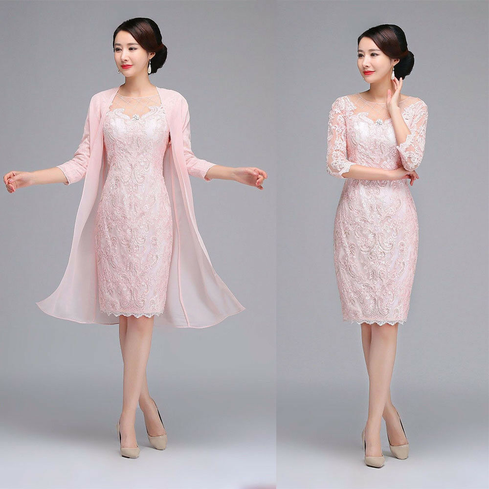 CHEAP ELEGANT MOTHER Of the Bride Dresses Gowns 3/4 Sleeves Light ...