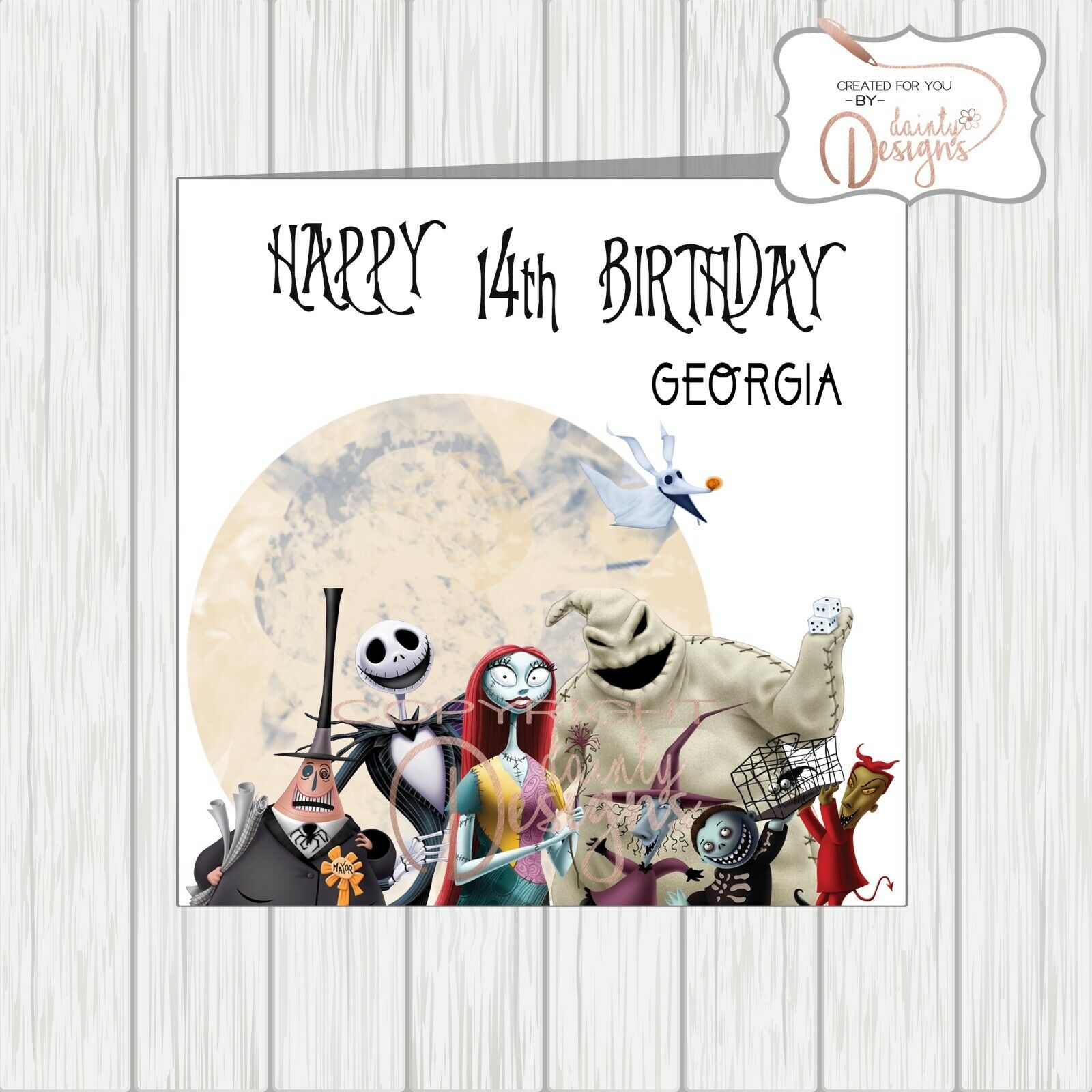 nightmare before christmas birthday card jack sally all characters