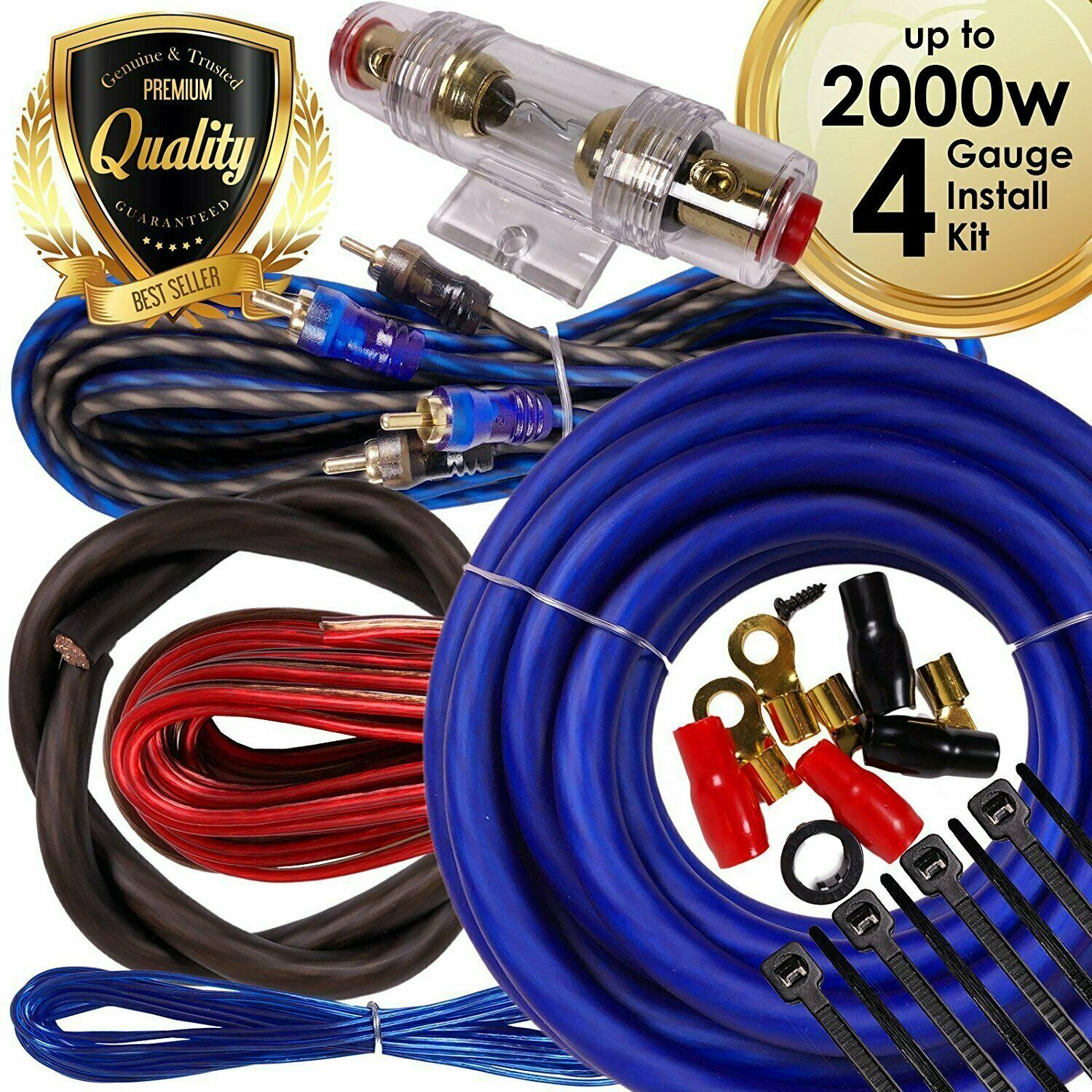 Complete 2000w 4 Gauge Car Amplifier Installation Wiring Kit Amp Pk2 Awg Wire Install 4g Ebay Ga Blue 1 Of 9only 3 Available