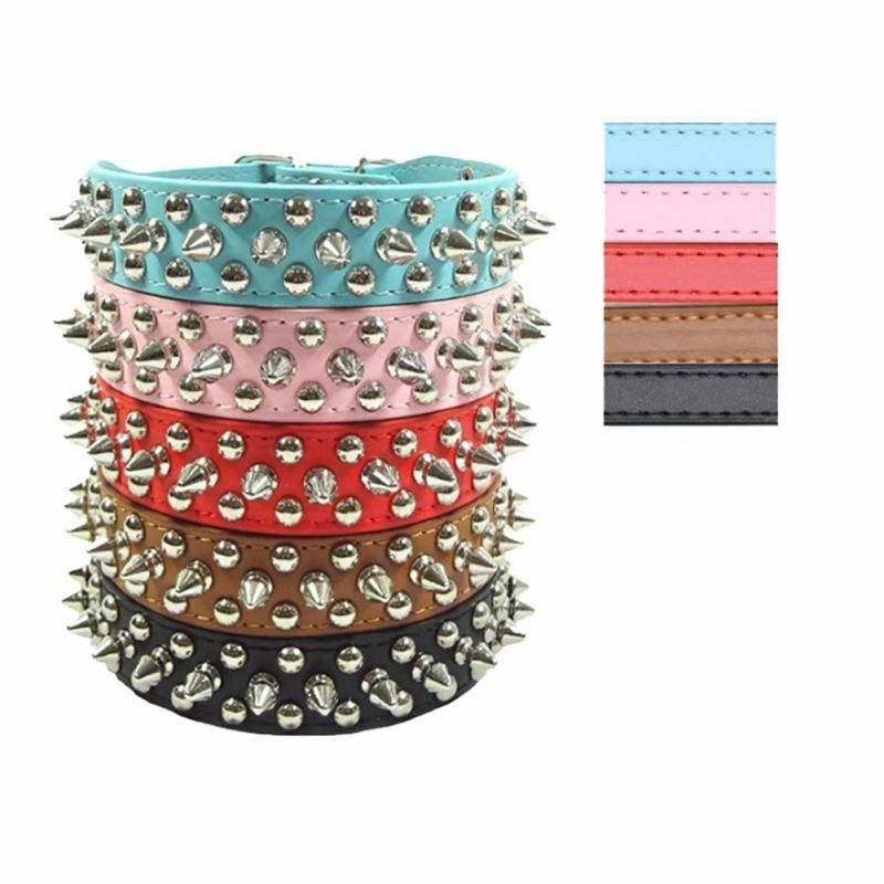 US Pet Dog PU Leather Punk Rivet Spiked Studded Puppy Cat Collar Neck Strap Gift 1 of 8FREE Shipping ...
