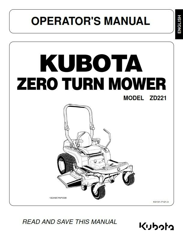 kubota zd221 zero turn mower operator manual reprinted comb bound rh picclick co uk