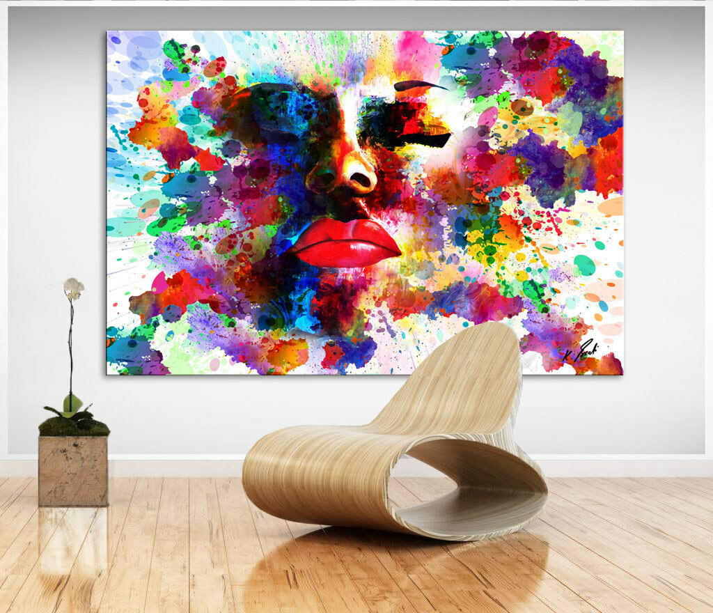 portrait abstrakte bunte frau bild auf leinwand kunst bilder wandbilder d0752 eur 69 95. Black Bedroom Furniture Sets. Home Design Ideas