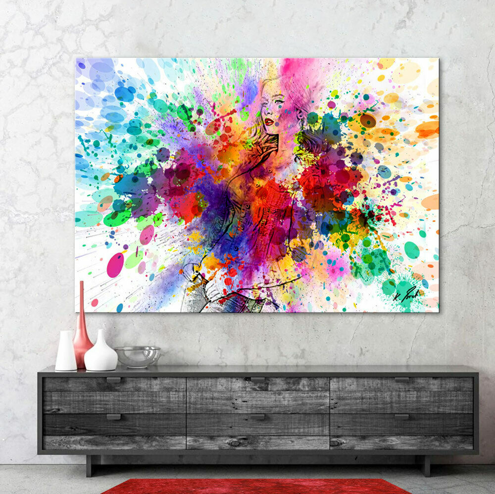 portrait abstrakte bunte frau bild auf leinwand kunst bilder wandbilder d0753 eur 69 95. Black Bedroom Furniture Sets. Home Design Ideas