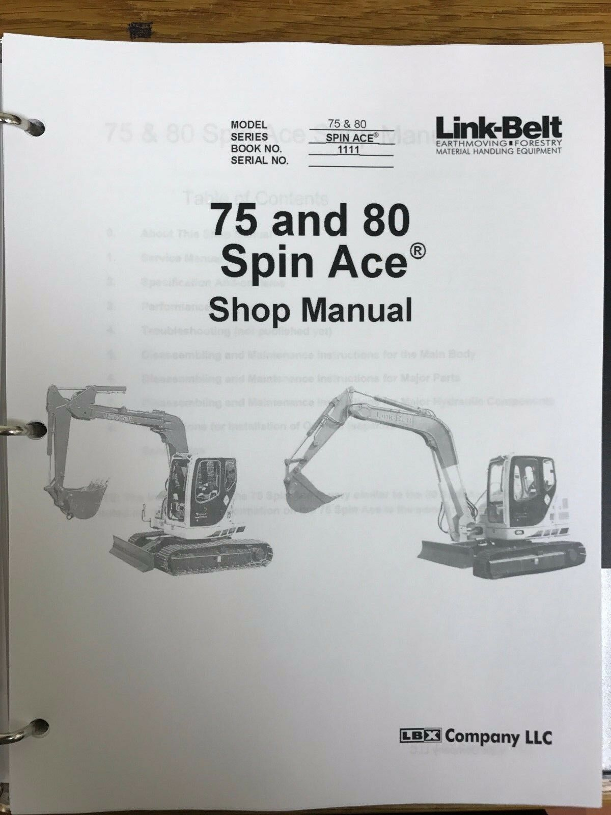 Link Belt 70 80 Spin Ace Service Shop Repair Workshop Manual 1 of 2Only 1  available ...