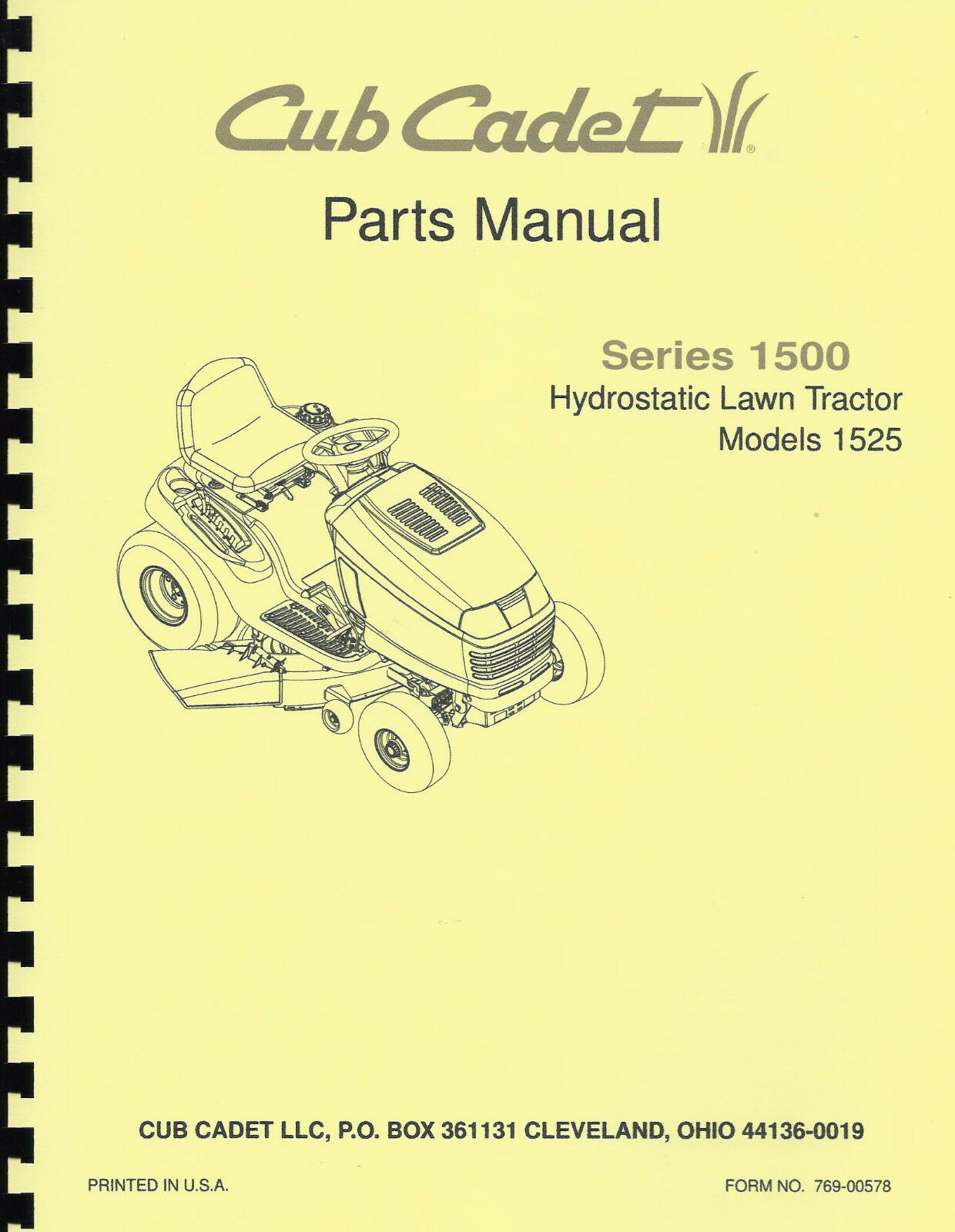 Cub Cadet 1525 Parts Manual Hydrostatic Lawn Tractor Series 1500 1 of 1Only  1 available ...