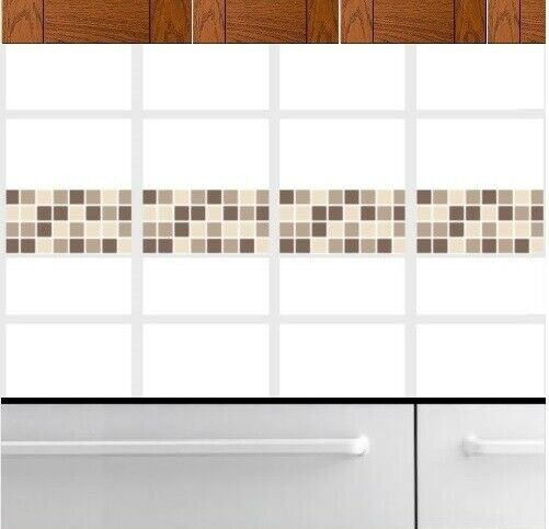 Self Adhesive Mosaic Border Tile Transfers Stickers Bathroom Kitchen Coffee 1 Of 3only 5 Available