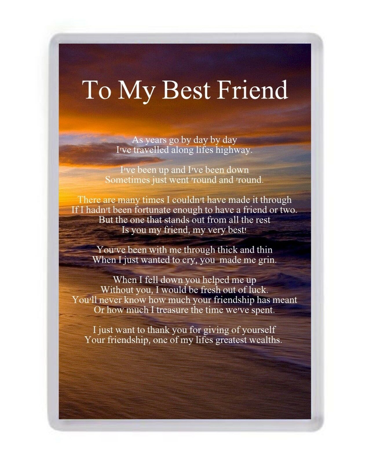 Personalised To My Best Friend Fridge Magnet Birthday Present Christmas Gift 1 Of 1FREE Shipping