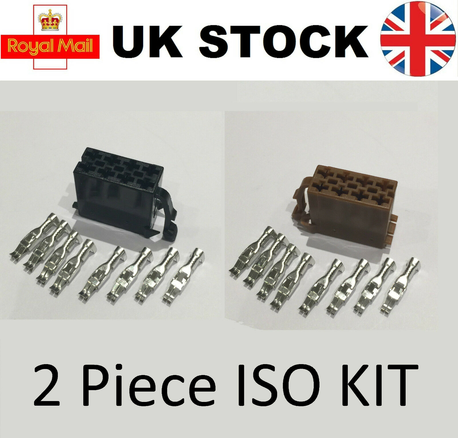 8 Pin Female ISO Car Stereo Radio Wiring Harness Connector Adaptor Block  Loom