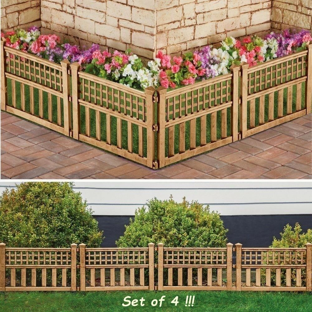 PLASTIC GARDEN FLOWER Bed Lawn Edging Fence Border Panel Bronze ...