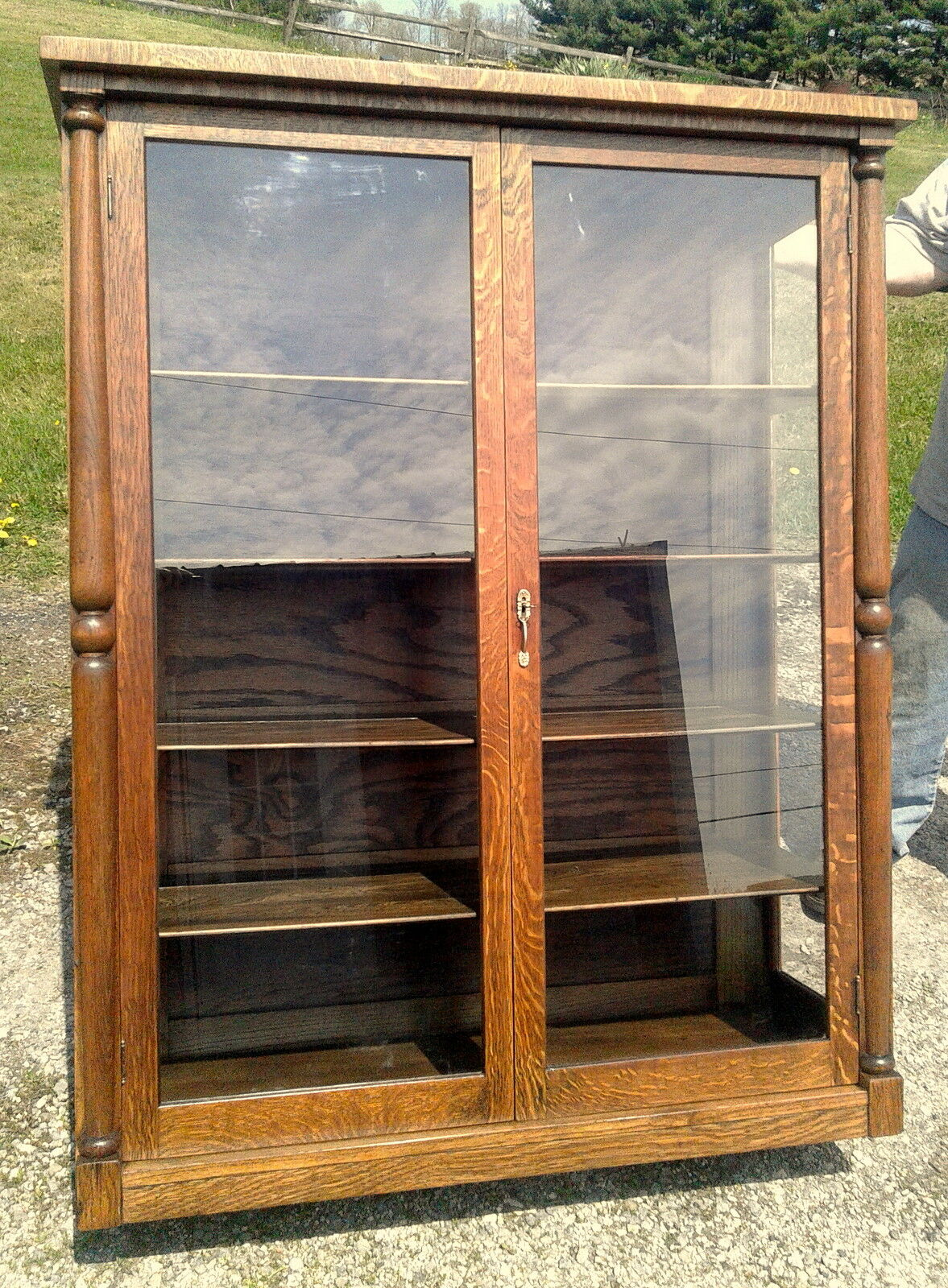 Antique Tiger Oak China Cabinet With Glass Doors And Sides 1930s Era 1 Of 12 See More