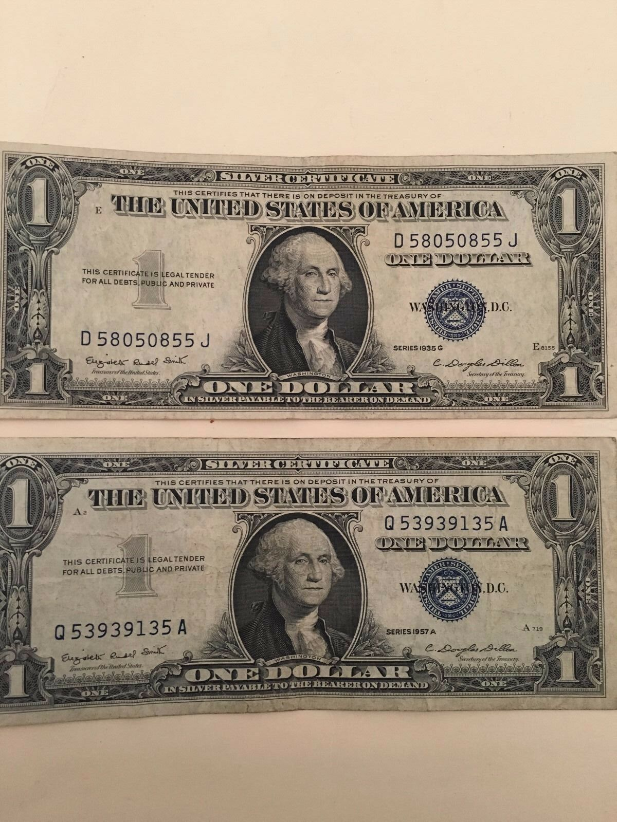 2 Old 1957 One Dollar Bills Well Circulated Silver Certificate
