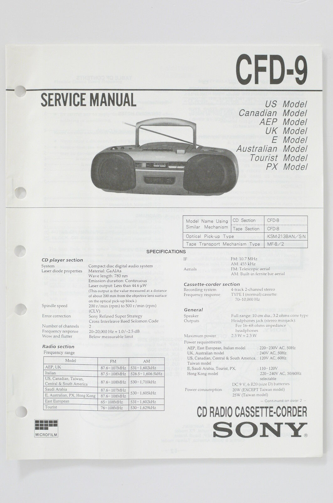 Sony Cfd 9 Radio Cassette Corder Service Manual Guide Wiring Diagram 1 Of See More