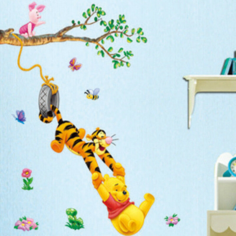 Cartoon Winnie The Pooh Wall Sticker Wallpaper For Kids Room Nursery
