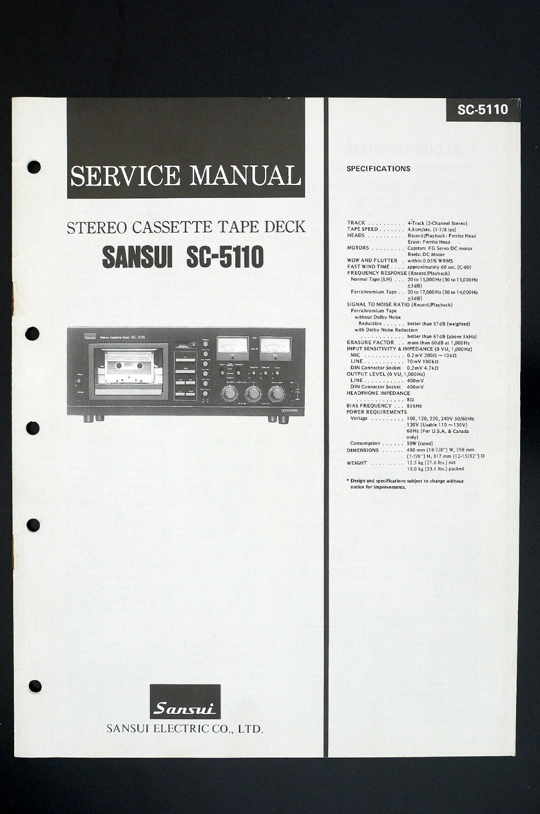 Tape Deck Wiring Diagram Library Sansui Car Stereo Harness Sc 5110 Original Cassette Service Manual 1 Of