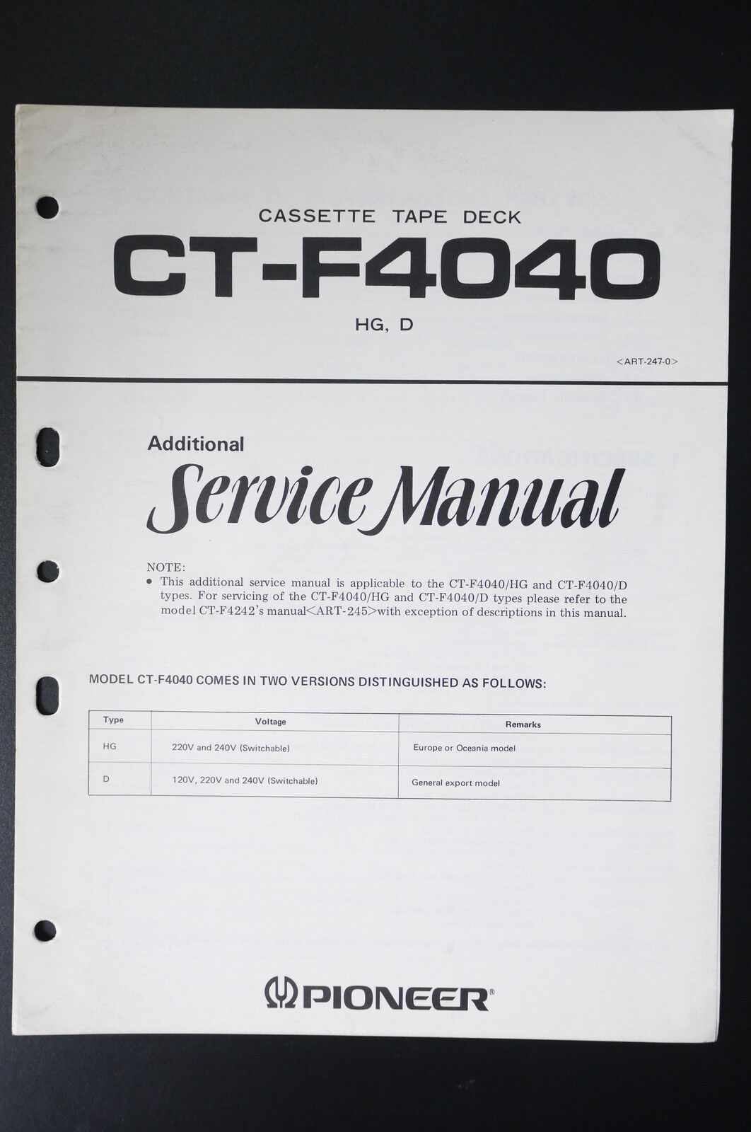 Pioneer Ct F4040 Original Additional Service Manual Guide Wiring Diagrams 1 Of See More