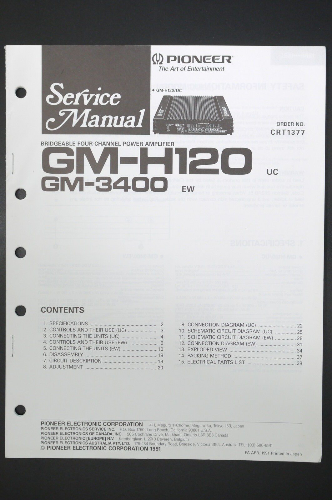 Pioneer Gm H120 3400 Power Amplifier Service Manual Wiring Crt Diagram 1 Of See More
