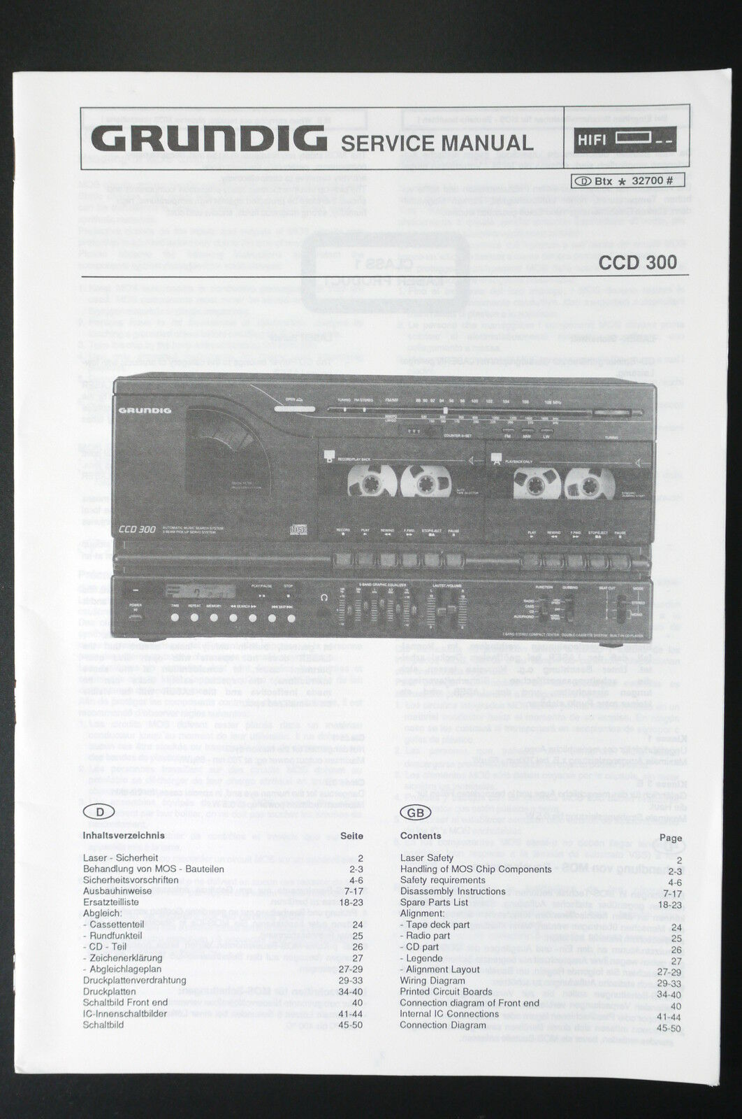 Grundig Ccd 300 Original Stereo System Service Manual Wiring Diagram Evo 1 Of See More