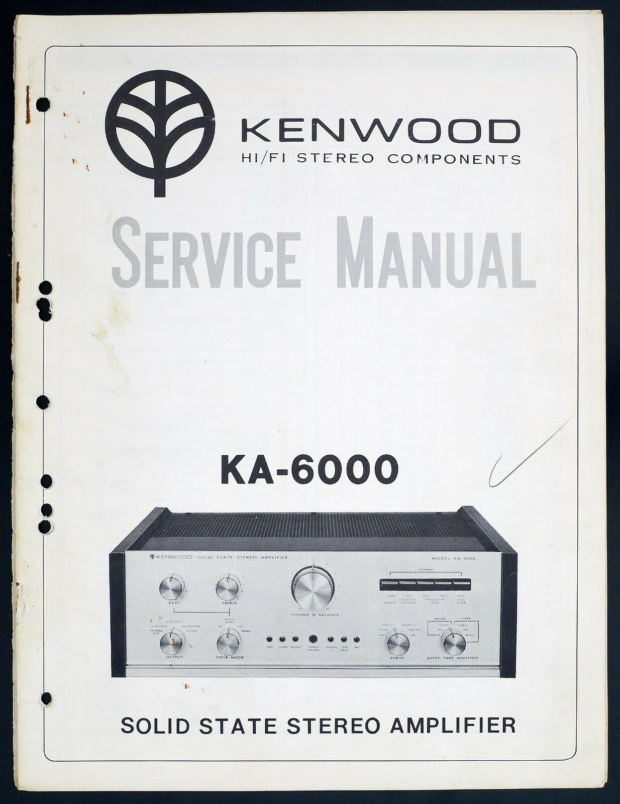Kenwood KA-6000 Original Stereo Amplifier/AMPLIFIER SERVICE MANUAL/Diagram  O136 1 of 1Only 2 available ...