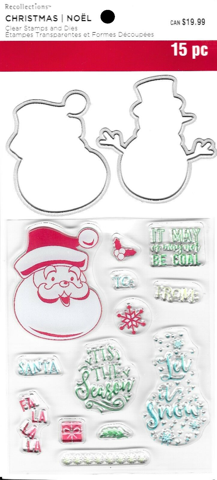 recollections santa sayings snowman clear stamps die set