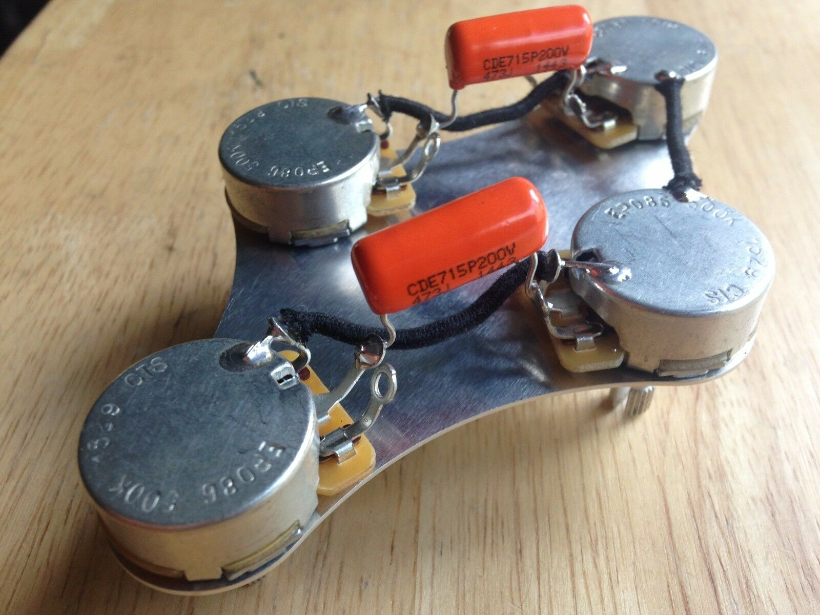 50s Wiring Harness Gibson Epiphone Les Paul 500k Cts Pots 047 Plate Orange Drop Cap 1 Of 4
