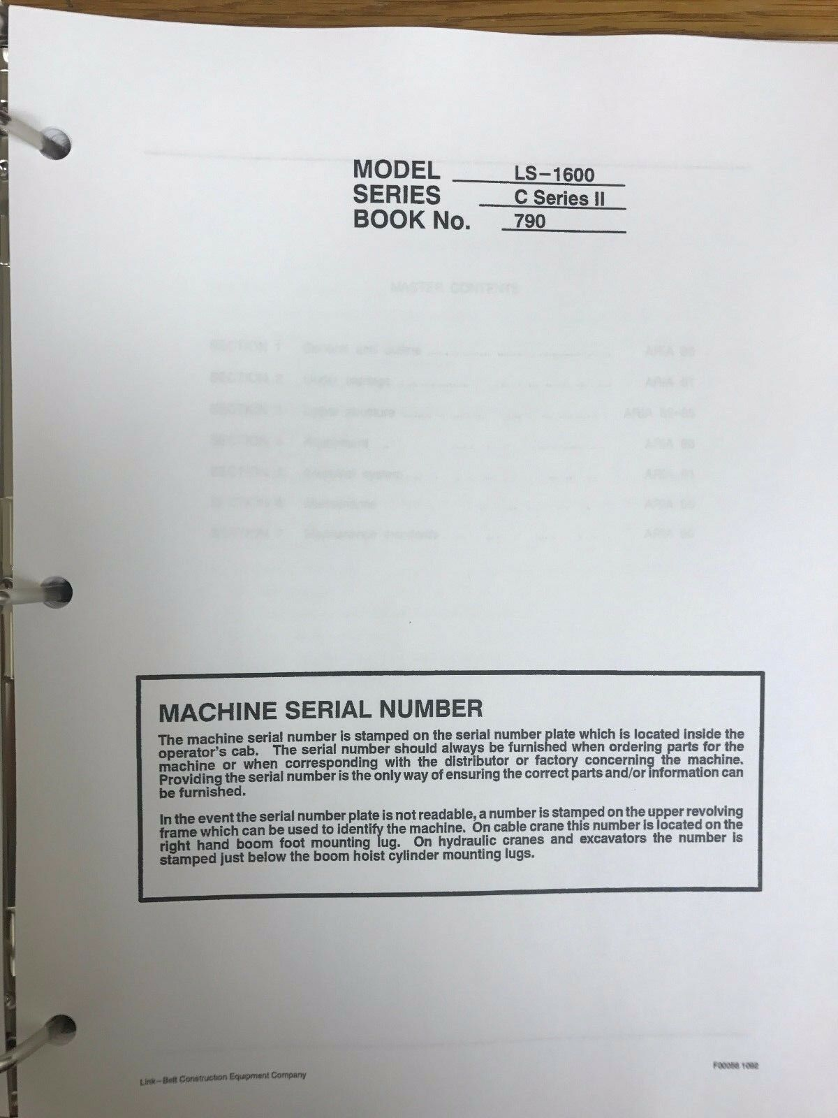 Link Belt Ls 1600 C 2 Hydraulic Excavator Service Shop Repair Workshop  Manual 1 of 2 See More