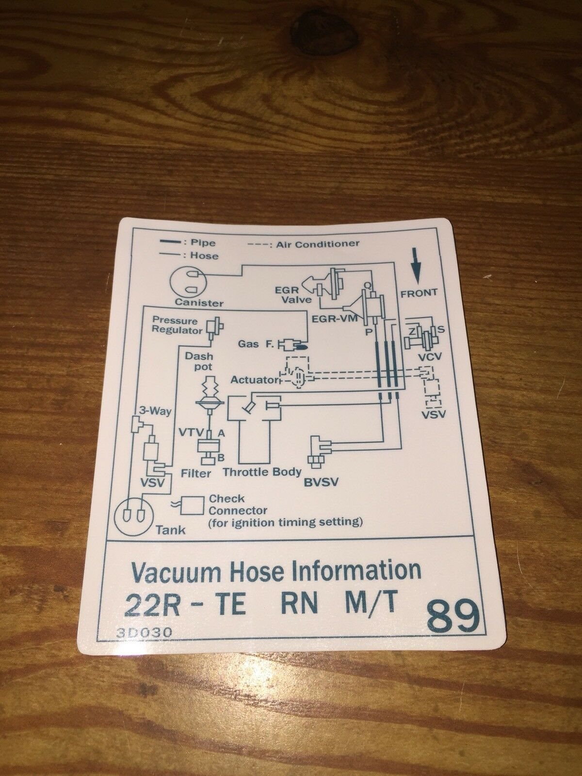 84 89 Toyota Pickup Truck 4runner Turbo Vacuum Diagram Decal Repro 1997 T100 Engine 1 Of 4free Shipping