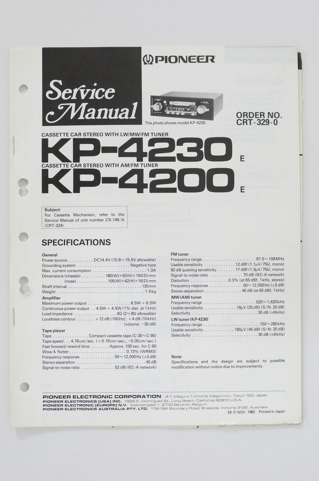 Pioneer Kp 4230 4200 Original Service Manual Guide Wiring Crt Diagram 1 Of See More