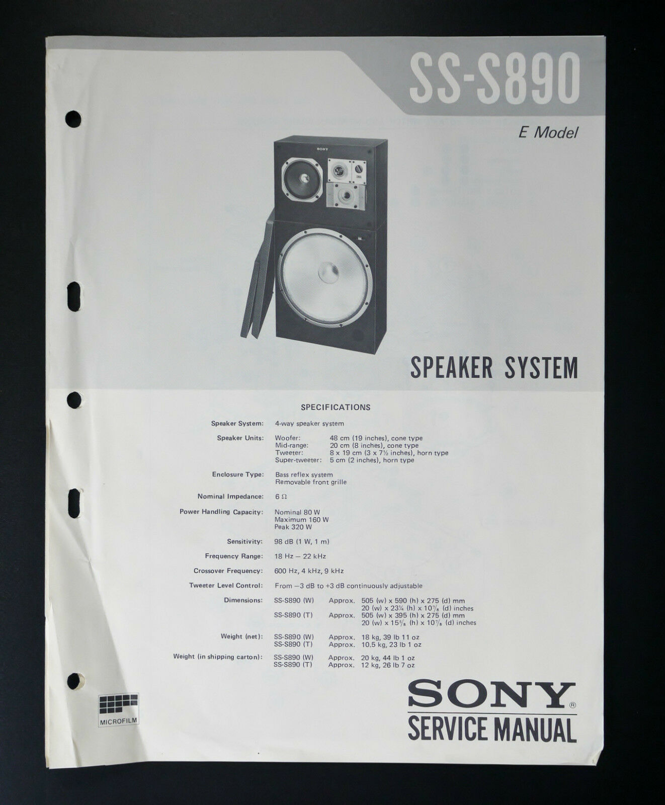 Sony Ss S890 Original Service Manual Wiring Diagram 1 Of See More