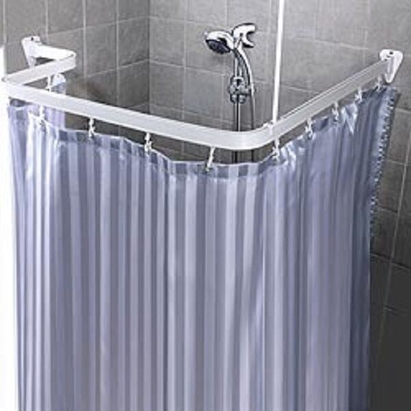 Bendable Shower Curtain Rod Flexible Curve Corner Custom Free Form Arch White 1 Of 5free Shipping