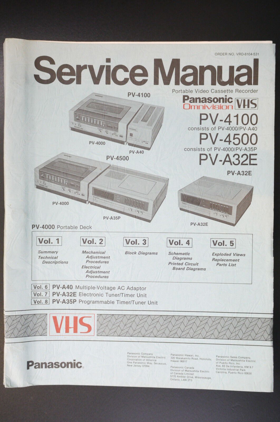 Panasonic Pv 4100 4500 A32e Vol1 Vol5 Original Service Manual Wiring Diagram 1 Of 1only Available