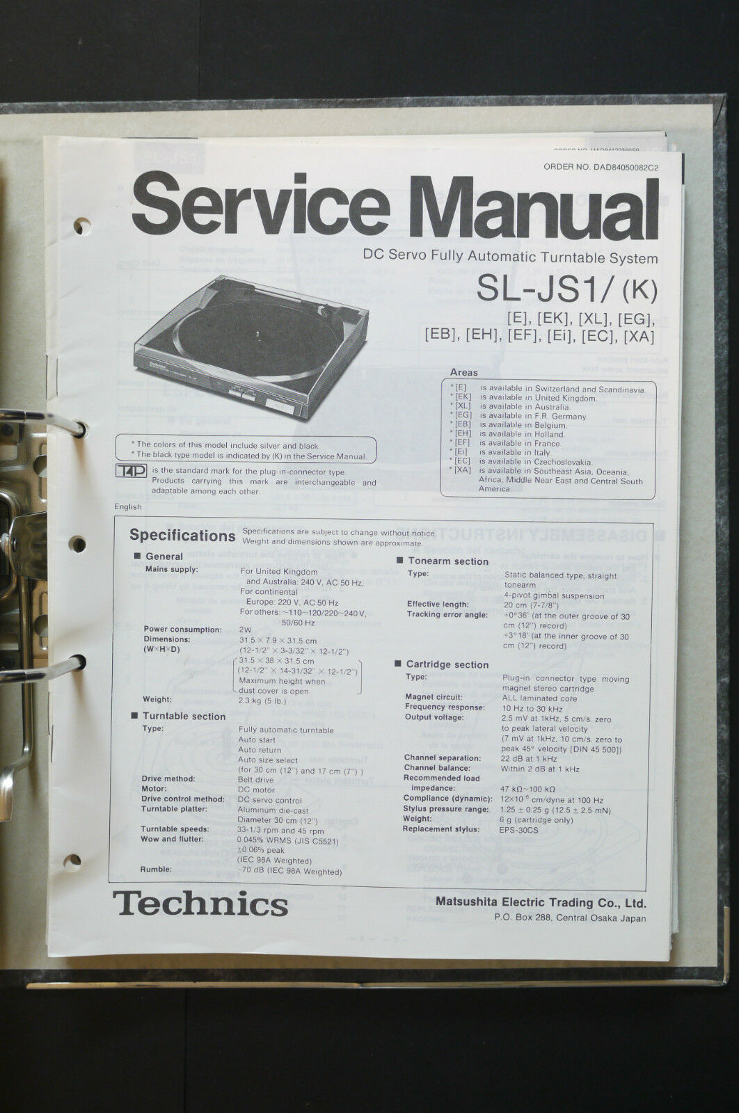 Technics Sl Js1 Original Turntable Service Manual Wiring 240 Schematic Diagram 1 Of 1only Available See More