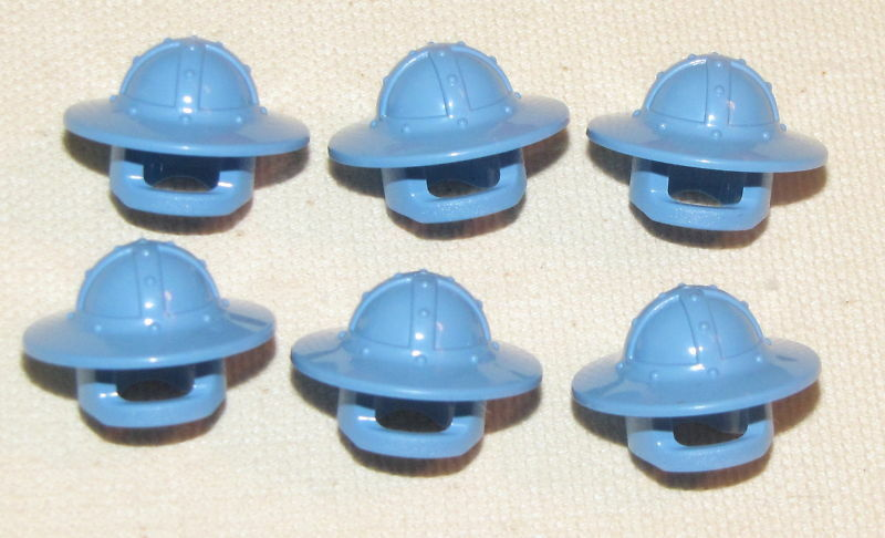LEGO LOT OF 6 MEDIUM BLUE CASTLE HELMETS WITH BRIM