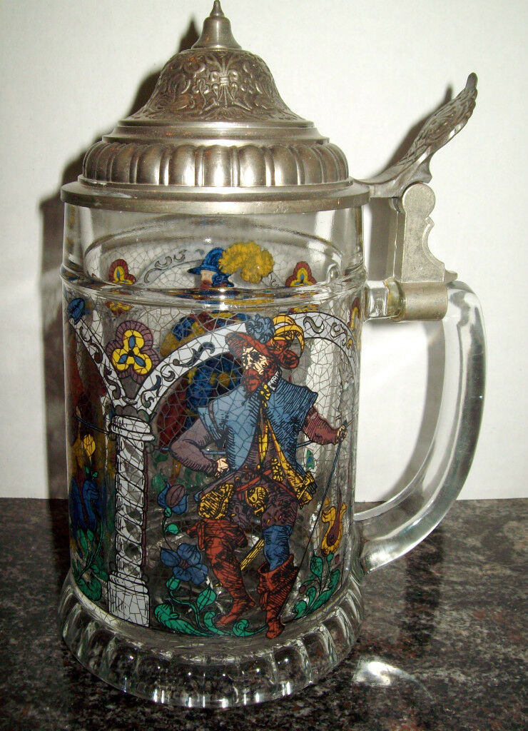 Vtg Bmf West Germany Glass Stein With Pewter Lid