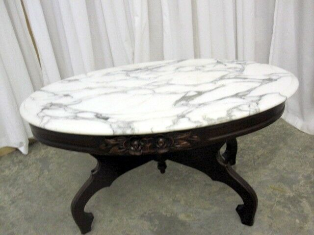 Antique marble top coffee table mint condition mahogany for Antique victorian marble top coffee table