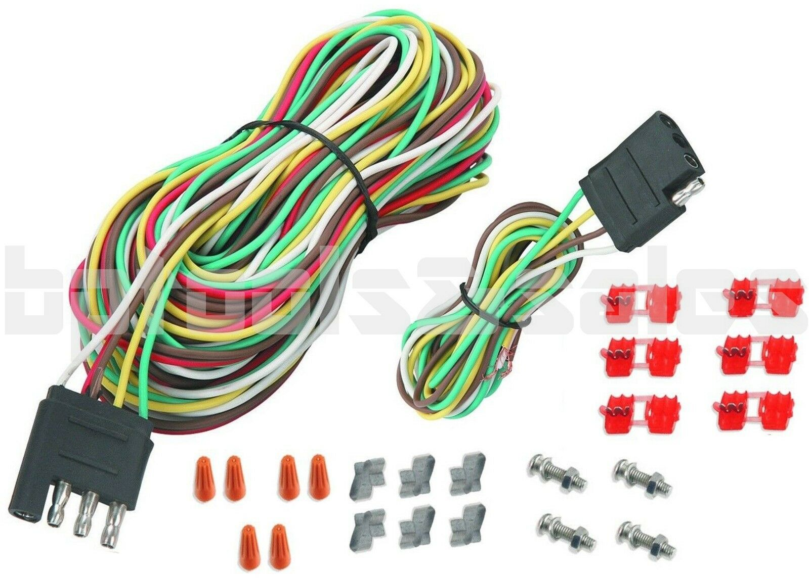 25ft 4 Way Trailer Wiring Connection Kit Flat Wire Extension Harness How To A Car Boat Rv 1 Of 1free Shipping