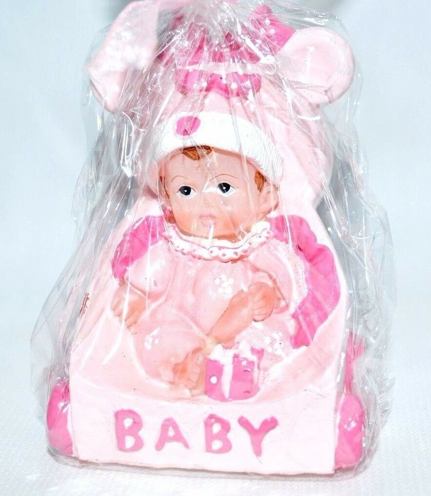 Girl's Birthday Candle Baby Shower Cake Topper Baby n Stroller Pink ...