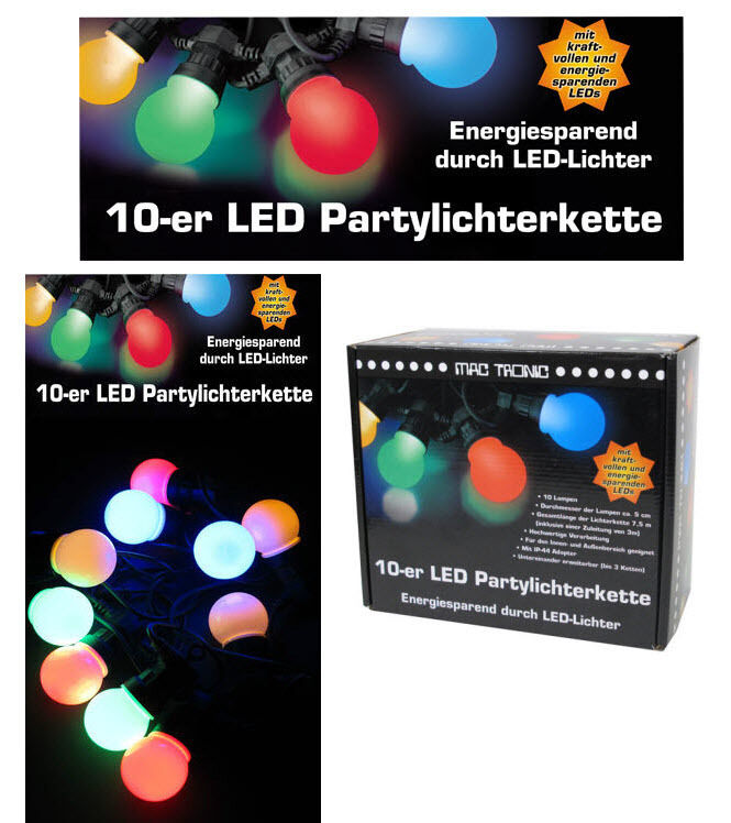 bunte led party lichterkette erweiterbar 7 5 m garten sommer pavillion 10 kugeln eur 24 95. Black Bedroom Furniture Sets. Home Design Ideas