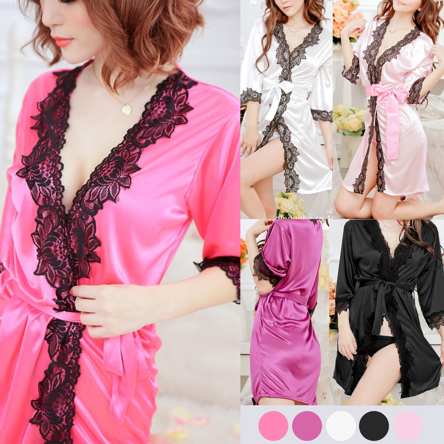 NEW COLLECTION SILK LACE Kimono Dressing Gown Bath Robe Lingerie +G ...