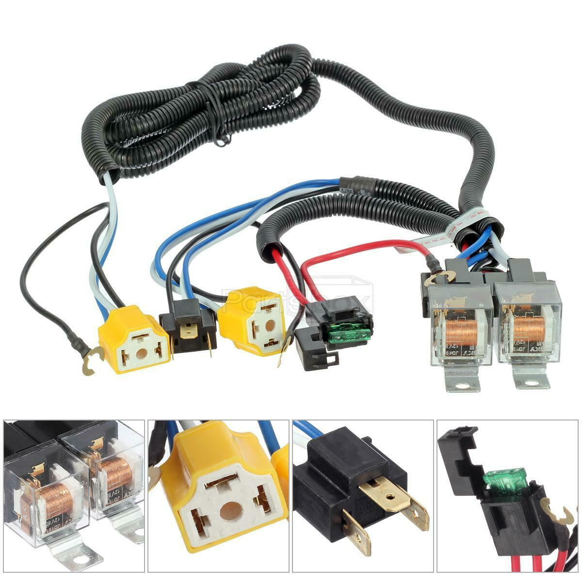 2 Headlight H4 Headlamp Light Bulb Ceramic Socket Plugs Relay Wiring Kit Harness 1 Of 6only 4 Available See More