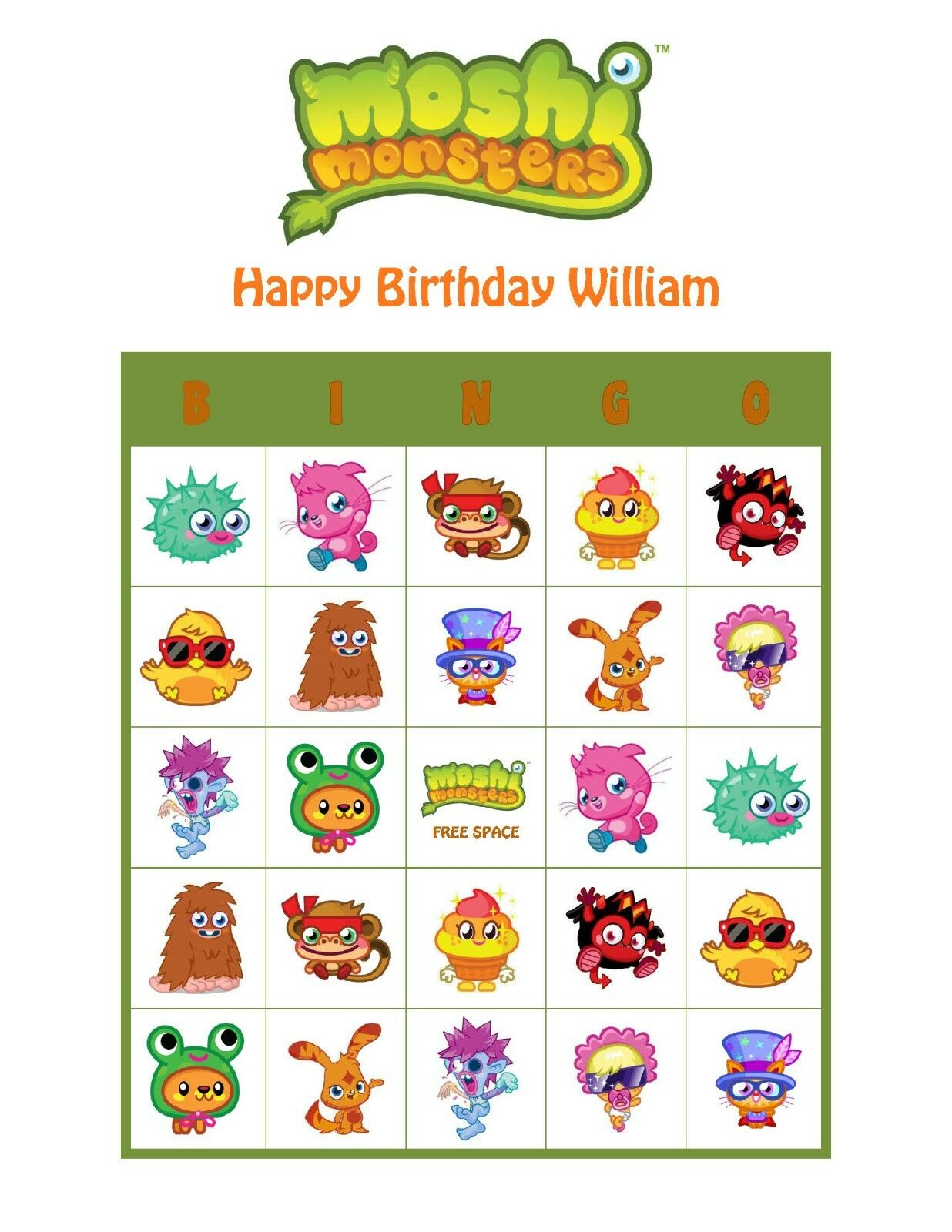 Moshi Monsters Personalized Birthday Party Game Activity Bingo Cards 1 Of 1FREE Shipping