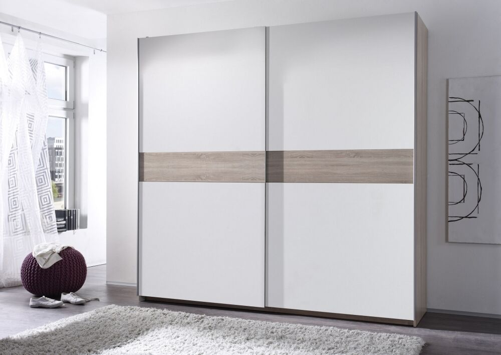 schwebet renschrank 220cm sonoma eiche wei schiebet renschrank kleiderschrank. Black Bedroom Furniture Sets. Home Design Ideas