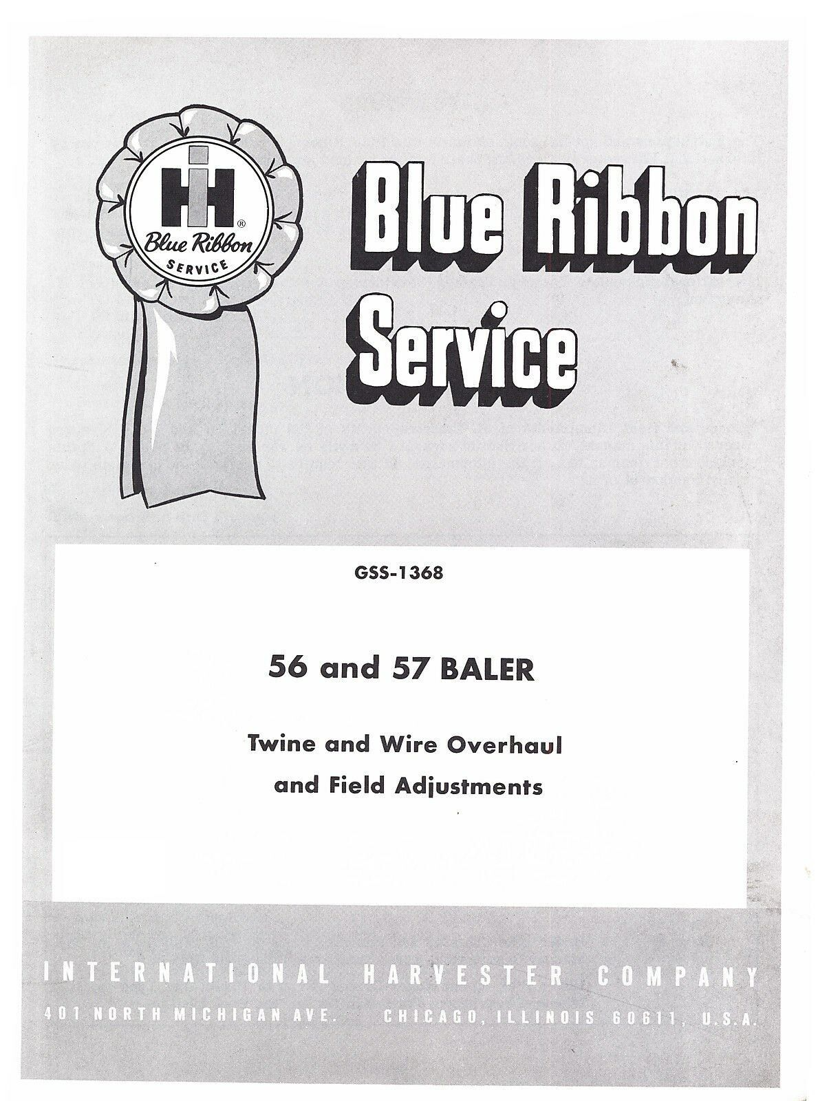 International 56 57 Baler Twine Wire Overhaul Field Adjustment Service  Manual IH 1 of 1FREE Shipping See More