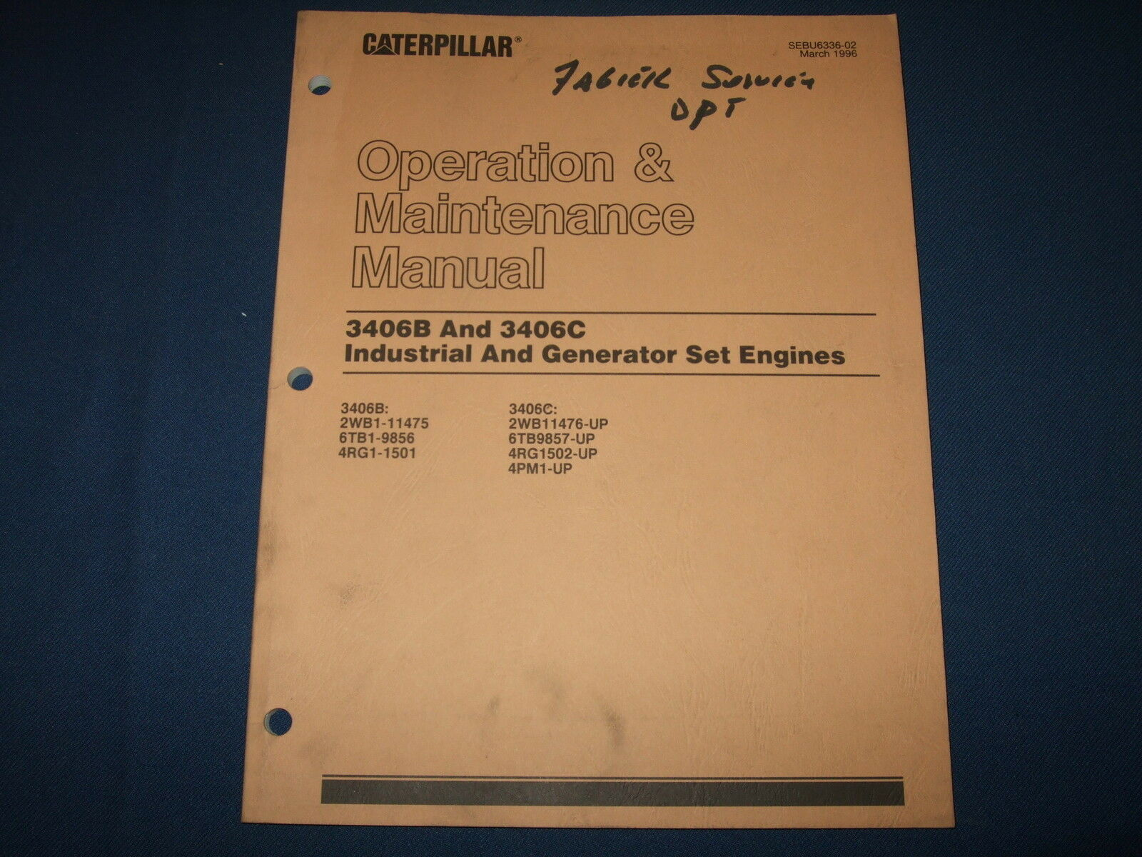 Cat Caterpillar 3406B 3406C Generator Engine Operation & Maintenance Manual  1 of 4Only 1 available ...