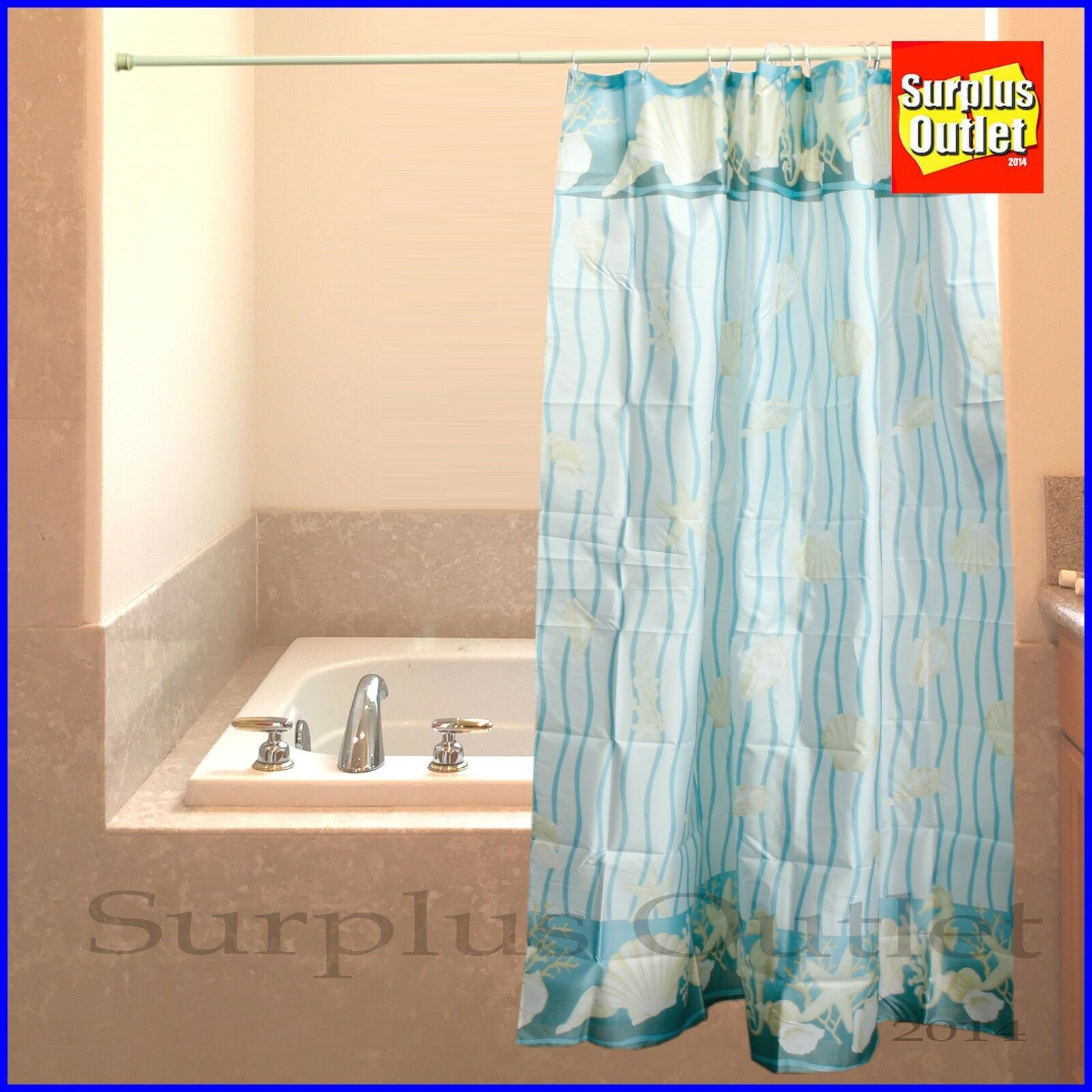 Sea Shells Design Fabric Shower Curtain 100 Polyester Picclick